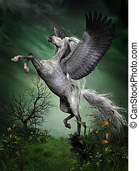 A dapple grey pegasus takes to flight from a forest knoll with huge wing beats.