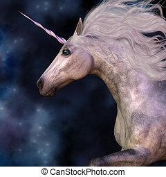 Cosmic stars surround the beauty of a dapple grey unicorn as he prances across the universe.