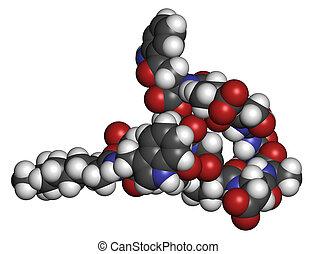 Daptomycin antibiotic drug molecule. Atoms are represented...