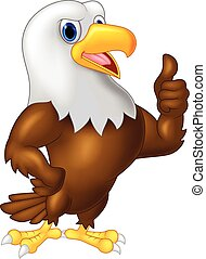 dar, águia, polegar, caricatura, cima