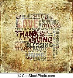dar, ação graças, bênção