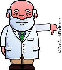 dar, abajo, científico, pulgares