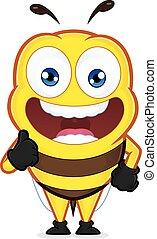 dar, abeja, arriba, pulgares