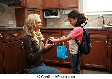 dar, almoço, mulher, criança