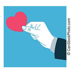 dar, amor, mão