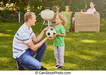 dar, bola, pai, filho