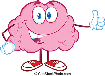 dar, cérebro, feliz, polegar cima