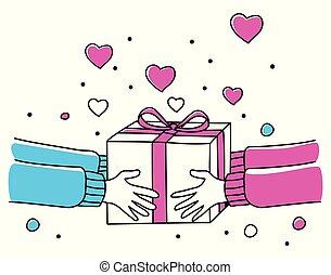 dar, caixa, human, presente, mãos