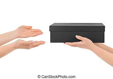 dar, caja, manos