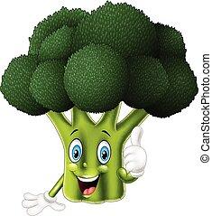 dar, caricatura, brócolos, cima, polegares