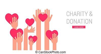 dar, cartaz, doação, caridade, modelo