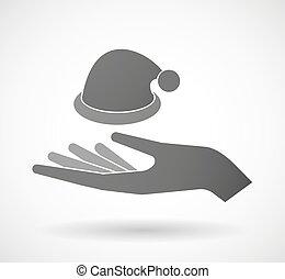 Dar, chapéu,  santa, mão