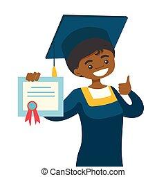 dar, cima., africano-americano, polegar, graduado