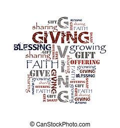 dar, compartir, ofrecimiento, plano de fondo