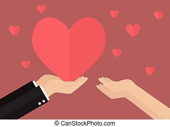 dar, coração, mulher, homem
