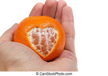 dar, corazón, mandarina