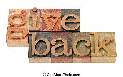 dar, costas, palavras, em, madeira, fontes