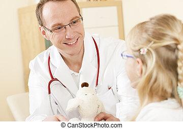 dar, criança, brinquedo, macio, doutor