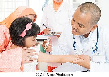 dar, crianças, vacina, doutor
