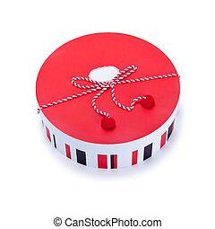 dar, czerwony boks, okrągły, biały
