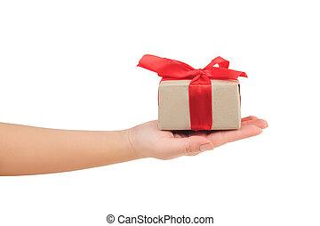 dar dający, dar, niniejszy, wstążka, tło, zawinięty, dłoń, biały, ręka, prezentacja, bok, czerwony, prospekt