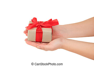 dar dający, górny, dar, czerwone tło, siła robocza, zawinięty, biały, prezentacja, wstążka, prospekt