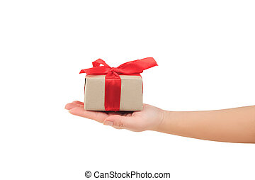 dar dający, ręka, czerwone tło, zawinięty, biały, dar, prezentacja, bok, wstążka, prospekt