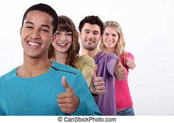 dar, dedo polegar*-para cima, grupo, jovens