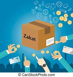 dar dinero, caridad, zakat, pobre, islam, religioso, concepto, impuesto