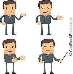 dar, divertido, presentación, caricatura, hombre de negocios