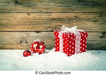 dar, drewniany, śnieg, tło, boże narodzenie, czerwony