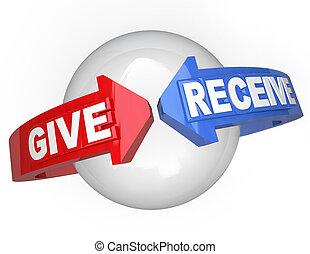 dar, e, receber, compartilhar, apoio, ajudando, outros