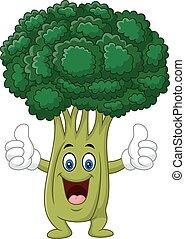 dar, engraçado, brócolos, polegar, caricatura