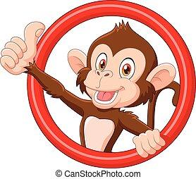 dar, engraçado, polegar, macaco, caricatura