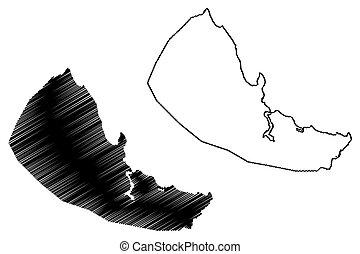 Dar es Salaam City (United Republic of Tanzania) map vector illustration, scribble sketch City of Mzizima map