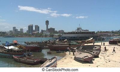 dar es salam, tanzania - view across the bay to dar es...
