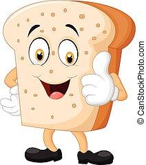 dar, fatia pão, polegar, caricatura