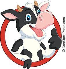 dar, feliz, polegar, vaca, cima, caricatura