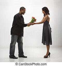 dar, flowers., mulher, homem