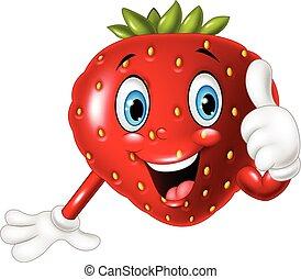 dar, fresa, pulgares, caricatura, arriba