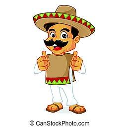 dar, hombre, mexicano, arriba, pulgares