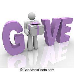 dar, -, homem, em, palavra, segurando, presente
