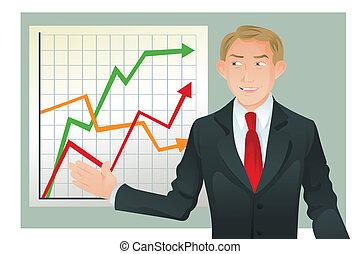 dar, homem negócios, apresentação