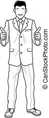 dar, homem negócios, cima, ilustração, polegares