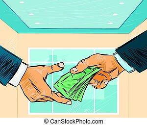 dar, homem negócios, dinheiro