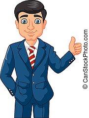 dar, homem negócios, u, caricatura, polegares