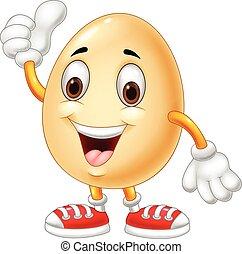 dar, huevo, arriba, pulgar, caricatura