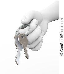 dar, ilustración, mano, llaves, humano, 3d