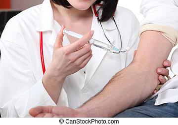 dar, injeção, paciente, doutor