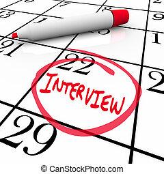 dar la vuelta, -, empleador, encontrar, entrevista, nuevo, calendario, día
